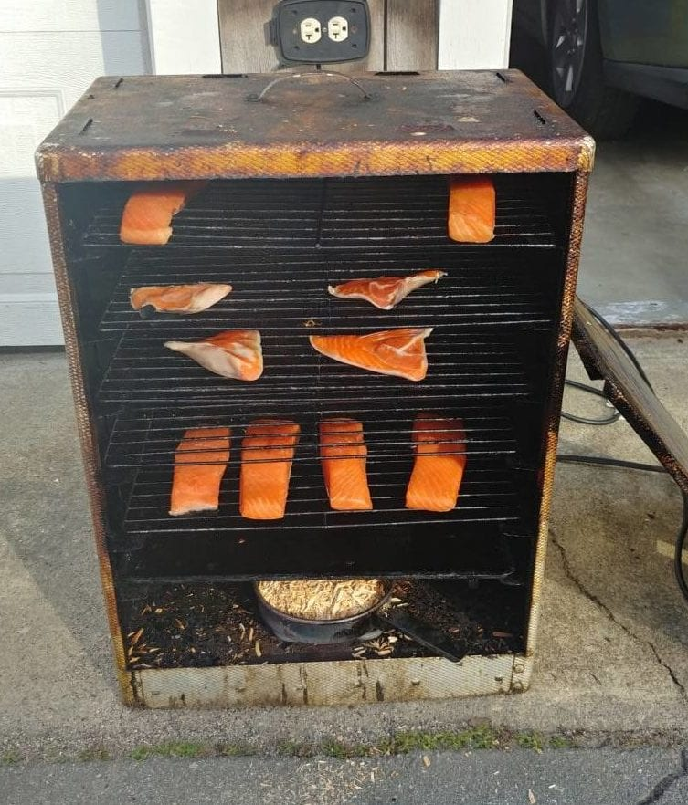 smoking salmon